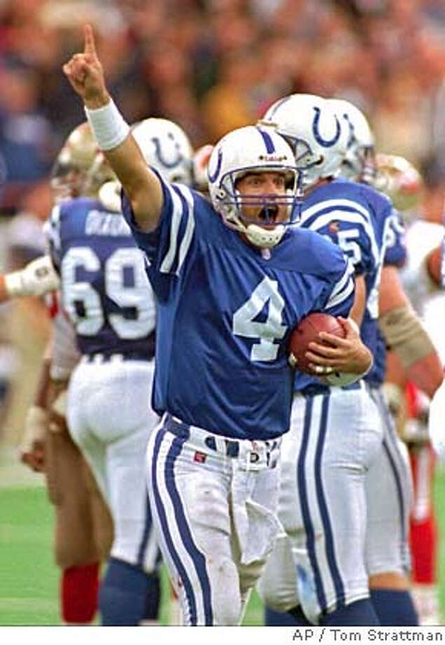 Indianapolis Colts quarterback Jim Harbaugh celebrates as he runs off the field after the Colts defeated the San Francisco 49ers 18-17 in Indianapolis Sunday, Oct. 15, 1995. (AP Photo/Tom Strattman) ALSO RAN: 8/30/96 CAT Photo: TOM STRATTMAN