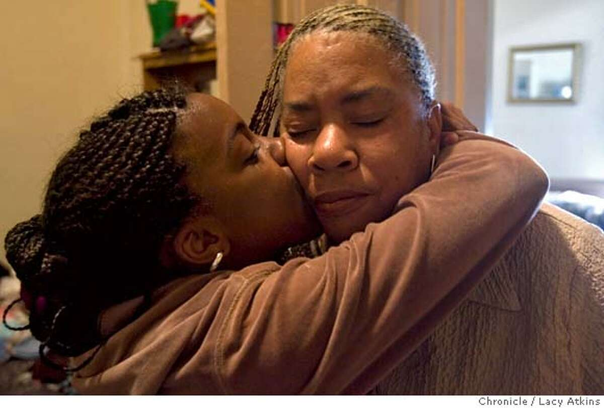 Tierra Turner gives her mother Marion Hawkins a kiss after they return home from church Sunday, April 22, 2007, in San Francisco, CA. (Lacy Atkins / San Francisco Chronicle) **Tierra Turner **Marion Hawkins MANDATORY CREDITFOR PHOTGRAPHER AND SAN FRANCISCO CHRONICLE/NO SALES-MAGS OUT
