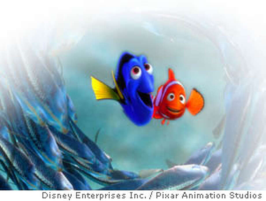"** FILE ** Dory, center left, and Marlin are surrounded by a school of moonfish in this scene from The Walt Disney Co.'s animated film ""Finding Nemo,"" in this undated promotional photo. Revenues increased 6.9 percent to $6.2 billion compared to $5.8 billion in the same quarter last year as ""Finding Nemo,"" produced in conjunction with Pixar Animation Studios, set box office records. (AP Photo/Disney Enterprises Inc./Pixar Animation Studios) Mike Myers stars in &quo;The Cat in the Hat.&quo; CAT UNDATED HANDOUT PHOTO"