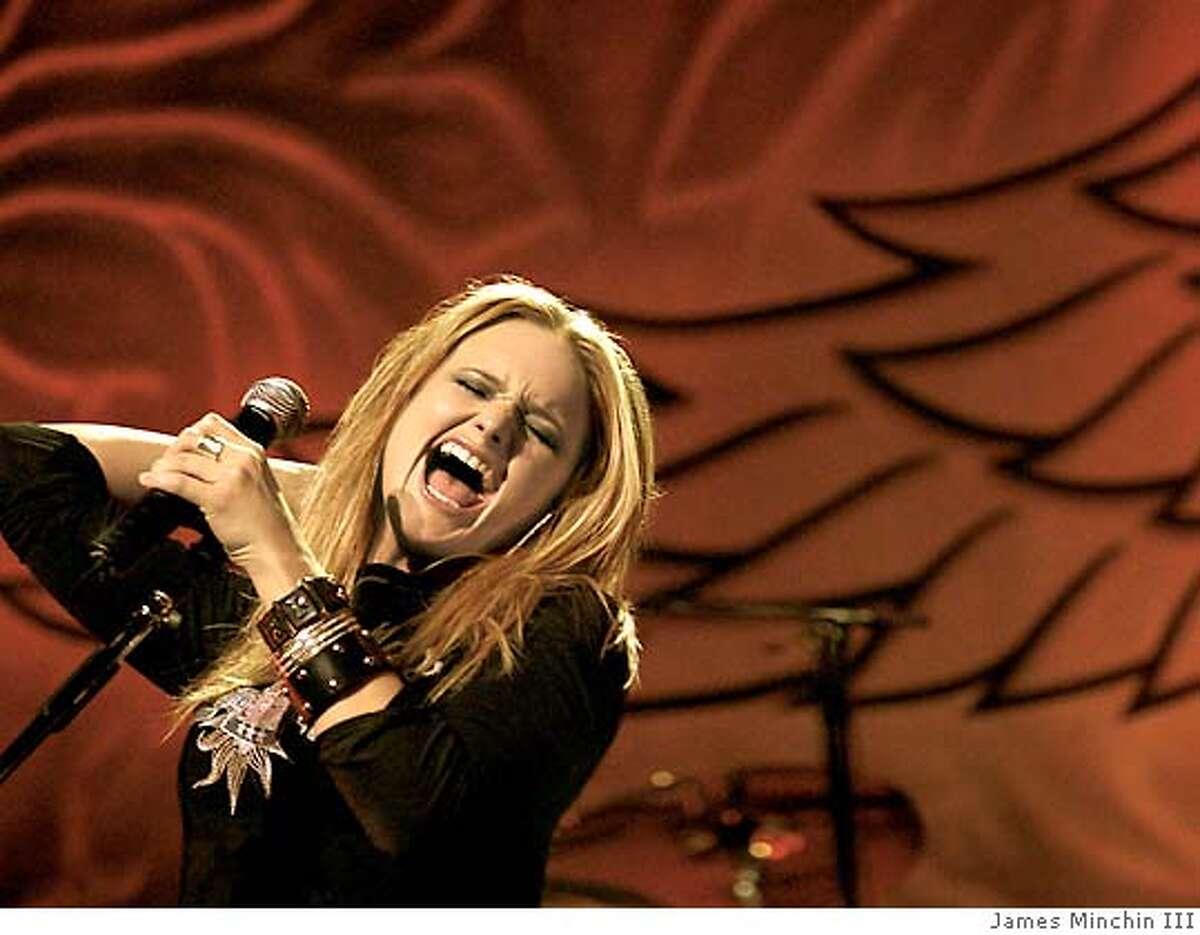 Live shot of musician Miranda Lambert in concert Photo by James Minchin III
