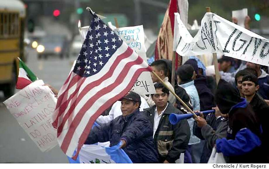 Latinos in the state protested and refuse to buy anything today as a form of economic protest against Gov. Arnold Schwarzenegger's repeal of a law that would have granted driver's licenses to illegal immigrants. Event on 12/12/03 in San Rafael. KURT ROGERS / The Chronicle Photo: KURT ROGERS