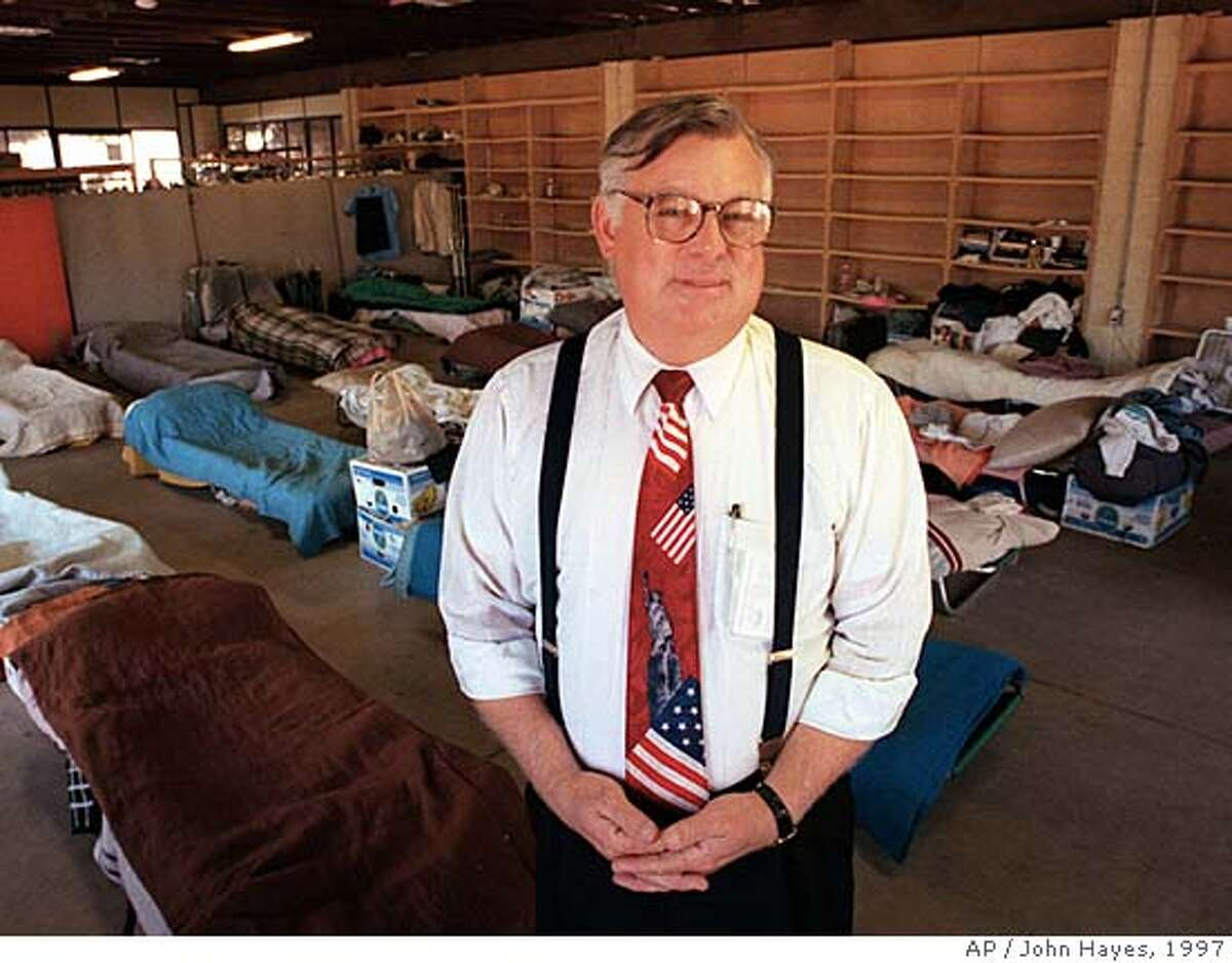 Pastor Wiley Drake stands in the sleeping area of his homeless shelter Thursday, July 31, 1997, set up at the First Southern Baptist Church in Buena Park, Calif. Drake was convicted this week of four municipal violations and ordered to shut down the enclosure where the sleeping area is kept. Clothing and food is also distributed to local residents from the same structure. (AP Photo/John Hayes) Ran on: 08-26-2007 Wiley Drake is pastor of the First Southern Baptist Church in Buena Park (Orange County). Ran on: 08-26-2007 Wiley Drake is pastor of the First Southern Baptist Church in Buena Park (Orange County).