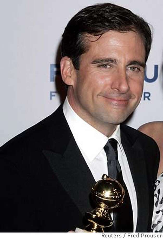 "Steve Carell (L) holds the Golden Globe award he won for Best Performance by an Actor in a Television Series, Musical or Comedy for his role in ""The Office"" as he arrives with his wife, Nancy Walls, at the Universal Studios Focus Features and NBC Golden Globes After-Party in Beverly Hills, California January 16, 2006. REUTERS/Fred Prouser 0 Photo: FRED PROUSER"