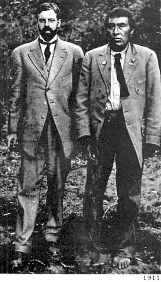 Anthropologist Alfred Kroeber (left) rescued Ishi from a jail cell in Oroville. Ishi is considered the last aboriginal California Indian. Photo courtesy of 1911