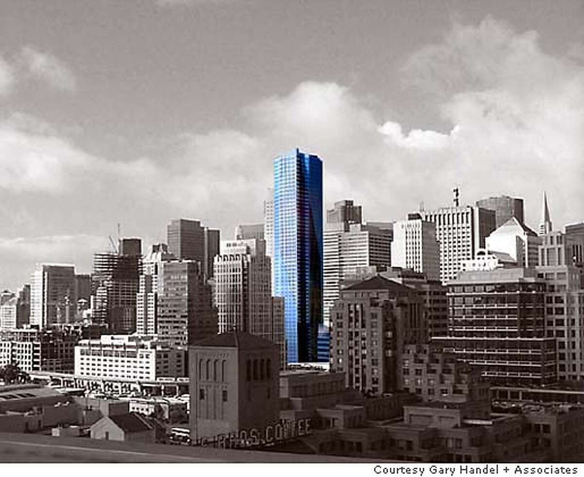 for towers21; The planned 301 Mission St. tower rises 58 stories with no apologies. 301 Mission as it might appear on the skyline from the Bay Bridge offramp at Fremont Street. courtesy Gary Handel + Associates, / HO
