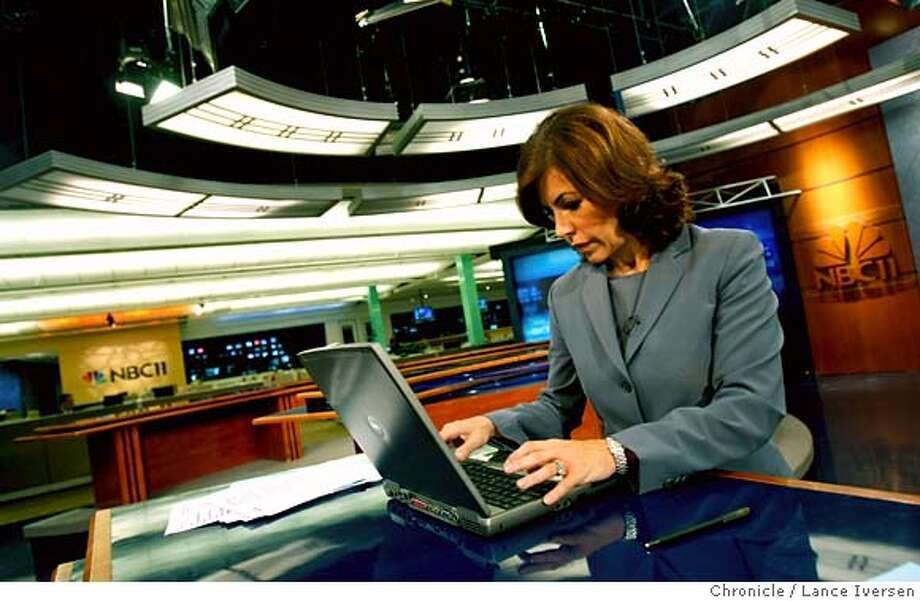 "CHATTV19_59259.JPG  Jessica Aguirre reads her viewer responses today a poll question of the day during a commercial break. NBC11, the Bay Area affiliate is debuting a new wrinkle to their 5 p.m. newscast that is simultaneously a ground-breaking way to communicate with its viewers and insanely terrifying: It is enabling its viewers to engage in a live chat with its anchor Jessica Aguirre during the newscast. So that means that there's a chance that Aguirre could be chatting online, on-air, with some comic genius that could post something like, ""You suck, or you should have stayed at Channel 7."" Taking that chance is worth it, station officials say, to keep up with other media, particularly online, in which commenting has become an integral part of the conversation between viewers and anchor. August 16, 2007. Lance Iversen/The Chronicle (cq) SUBJECT 8/16/07,in SAN JOSE. CA. Ran on: 08-22-2007  News anchor Jessica Aguirre checks viewers' responses to the poll question during a commercial break during her 5 p.m. broadcast. Photo: By Lance Iversen"