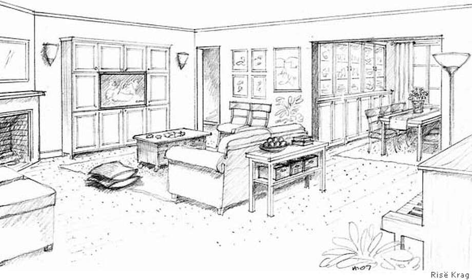 A love seat works well in this compact living room. Closed storage cabinets minimize clutter. Illustration by Ris� Krag