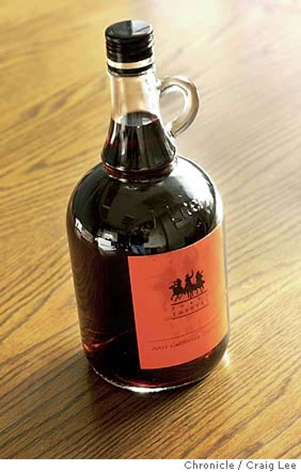 Photo of 2002 Three Thieves California Zinfandel. It come in a 1-liter jug and is sealed with a screw cap. Event on 12/11/03 in San Francisco. CRAIG LEE / The Chronicle