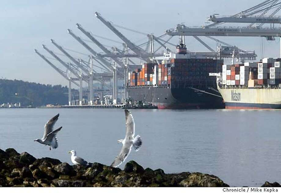 trade180048_mk.jpg Thanks to a big jump in trade with China, the Port of Oakland is enjoying a strong year in shipping. 12/17/03 in Oakland MIKE KEPKA/The Chronicle Photo: MIKE KEPKA