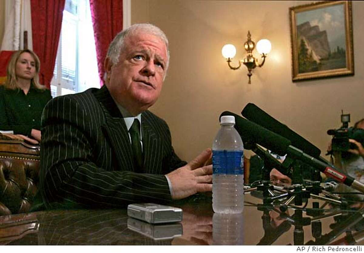 Senate President Pro Tem Don Perata, D-Oakland, talks with reporters after the Senate passed the state budget ending a nearly two month stalemate, Tuesday, Aug. 21, 2007, at the Capitol in Sacramento, Calif. (AP Photo/Rich Pedroncelli)