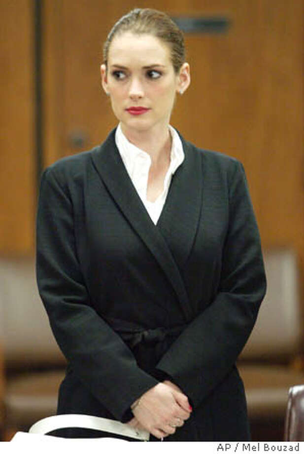 Actress appears at Beverly Hills Superior Court Monday, April 7, 2003 in Beverly Hills, Calif. for a progress report following her conviction for shoplifting from Saks Fifth Avenue in Beverly Hills. (AP Photo/Mel Bouzad, Pool) Photo: MEL BOUZAD