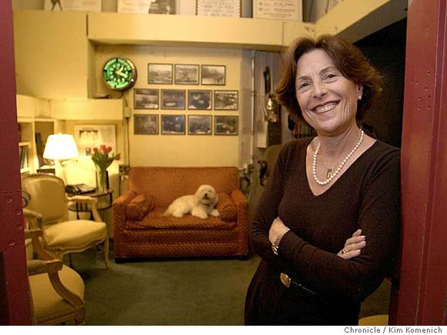 GOLDSTEIN_058_kk.jpg  Sydney Goldstein, founder of City Arts and Lectures, in the green room at Herbst Theater.That's her dog Sophie in the background.  KIM KOMENICH/The Chronicle MANDATORY CREDIT FOR PHOTOG AND SF CHRONICLE/ -MAGS OUT Photo: KIM KOMENICH