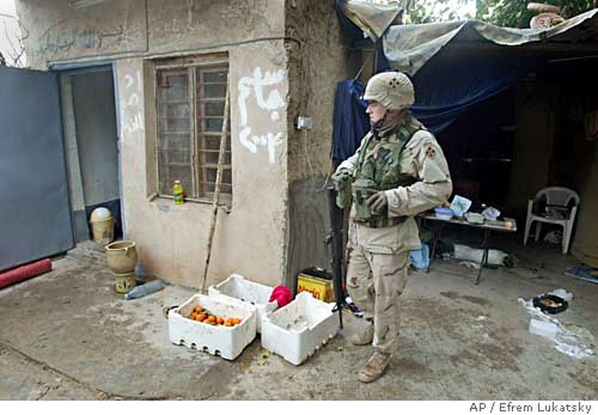 A U.S. soldier guards a hut where former Iraqi leader Saddam Hussein, was living before his capture, in Ad Dwar, 15 kilometers southeast of Tikrit, Monday, Dec. 15, 2003. U.S. troops from the 4th Infantry Division captured former Iraqi leader on Saturday .(AP Photo/Efrem Lukatsky)