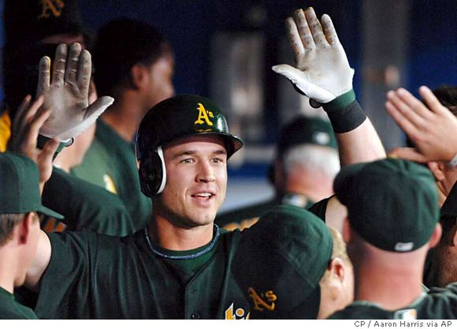 Oakland Athletics' Jack Hannahan, center, celebrates in the dugout after scoring on his three-run home run against the Toronto Blue Jays during third inning baseball action in Toronto, Monday, Aug. 20, 2007. (AP PHOTO/CP, Aaron Harris) CANADA Photo: Aaron Harris