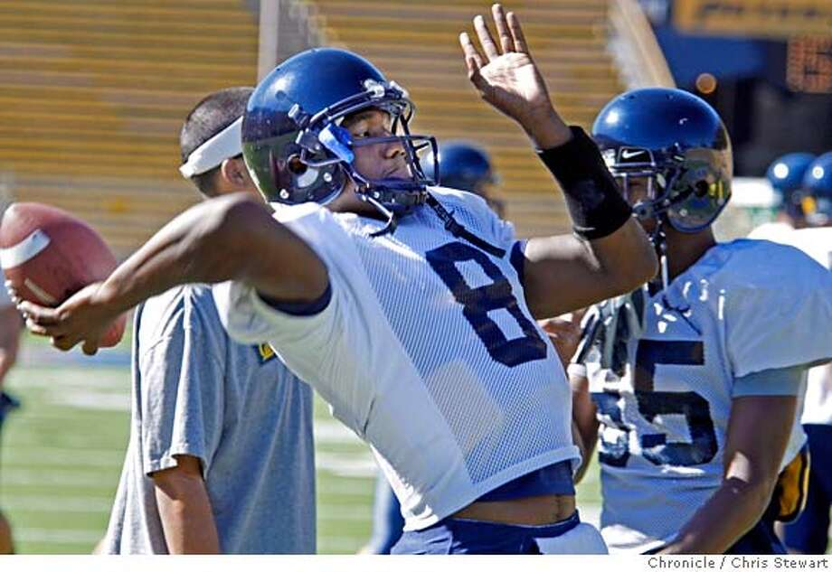 CAL_FOOTBALL_0294_cs.jpg Event on 8/16/07 in Oakland  Kyle Reed (cq), a quarterback (#8) joins fellow Cal Berkeley football team members as they practice at Memorial Stadium on the Cal Berkeley campus. Photographed August 16, 2007. Chris Stewart / The Chronicle Call football, Kyle Reed MANDATORY CREDIT FOR PHOTOG AND SF CHRONICLE/NO SALES-MAGS OUT Photo: Chris Stewart