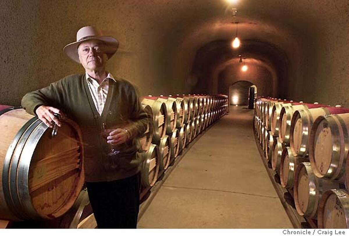 The new Quintessa wine cave in St. Helena. Photo of Quintessa owner, Augustin Huneeus Sr., in the wine cave. Event on 12/3/03 in St. Helena. CRAIG LEE / The Chronicle