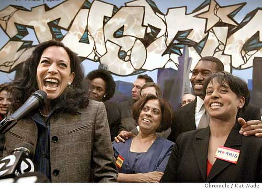 HARRISPARTY_0147_KW.jpg  Kamala Harris gives her victory speech after becoming the first woman and Afro/Indian American D.A. in California at her campaign headquarters on 3rd Street surrounded by friends and family members (L to R0 Bayview/Hunter's point supervisor Sophie Maxwell, Mother, Shyamala Harris, brother-in-law Tony West and sistrer, Maya Harris on 12/10/03 in SanFrancisco . Kat Wade / The Chronicle Photo: Kat Wade