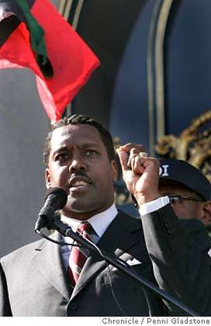 Speaking on the steps of City Hall is, Minister Christopher Muhammad of the Nation of Islam of the San Francisco Bay Area. He spoke at the protest today in San Francisco about driving communities of color by deliberately failing them in the provision of all manner of public services. Event on 10/16/06 in San Francisco.  Penni Gladstone / The Chronicle Ran on: 08-01-2007 Ran on: 08-01-2007 Ran on: 08-01-2007 Ran on: 08-01-2007 MANDATORY CREDIT FOR PHOTOG AND SF CHRONICLE/NO SALES-MAGS OUT Photo: Penni Gladstone