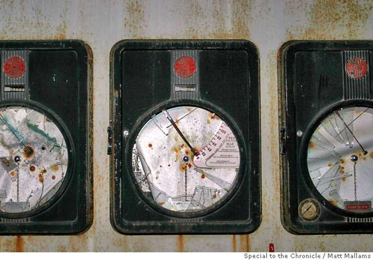 Instruments line a wall in the abandoned sugar refinery in Betteravia, CA. 6.1.07 (Photo by Matt Mallams/ Freelance for the San Francisco Chronicle)