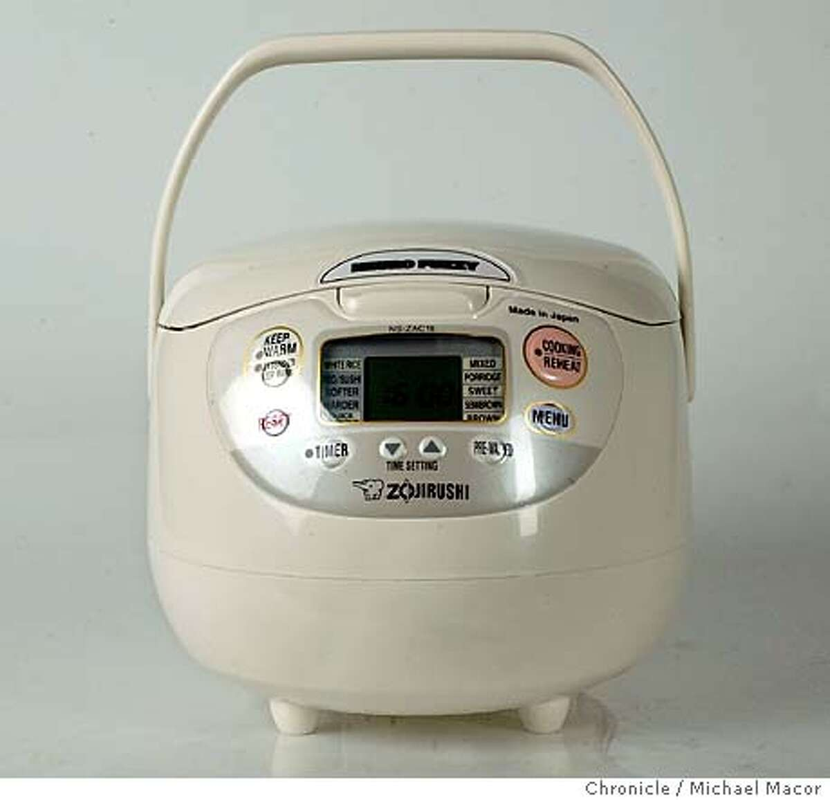 """ricecooker076_mac.jpg """" Zojirushi"""" Rice Cooker. Testing rice cookers. Looking at three different models. 11/12/03 in STUDIO. MICHAEL MACOR/ The Chronicle"""