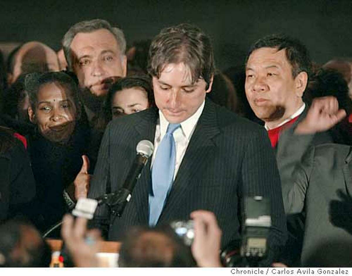 Supervisor Matt Gonzalez looks downward as he gives his concession speech in the Mayor's race San Francisco, Ca., on Tuesday, December 9, 2003. Event on 12/09/03 in San Francisco, CA. Photo By Carlos Avila Gonzalez / The San Francisco Chronicle