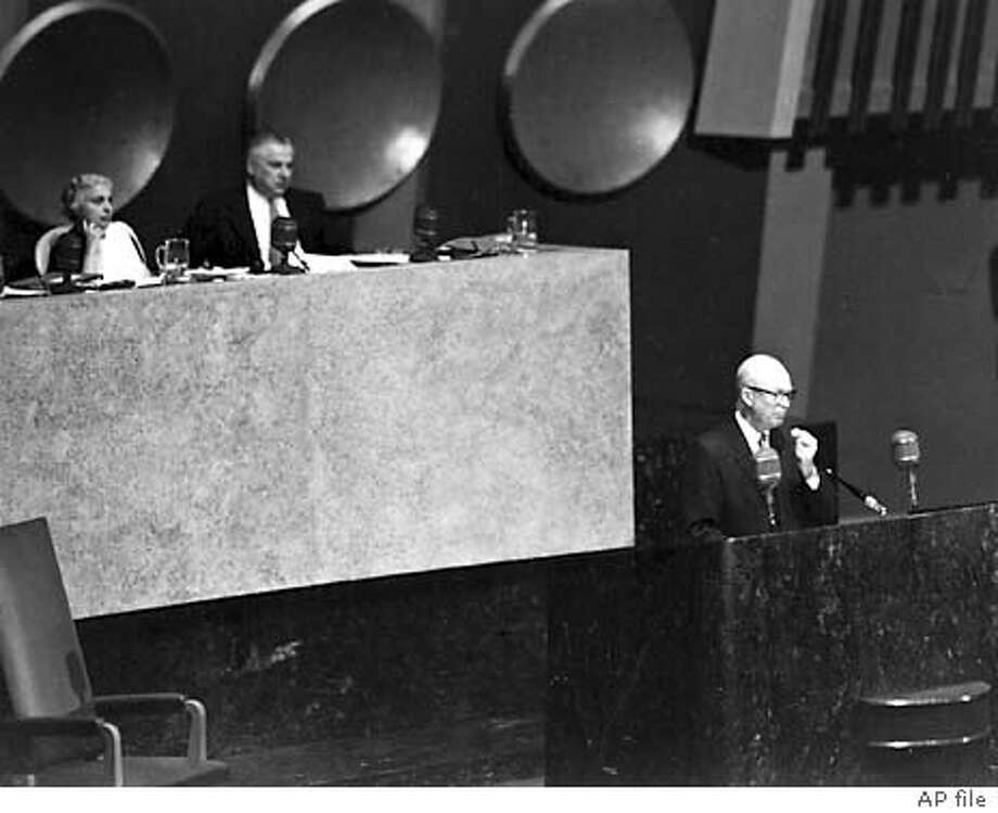 """**FILE** U.S. President Dwight D. Eisenhower delivers his """"Atoms for Peace"""" address in this Dec. 8, 1953, file photo at the United Nations General Assembly in New York. Eisenhower's address led to the creation of the IAEA four years later. (AP Photo/IAEA, File) DEC. 8, 1953 FILE PHOTO B&W IMAGE HANDOUT IMAGE Photo: IAEA"""