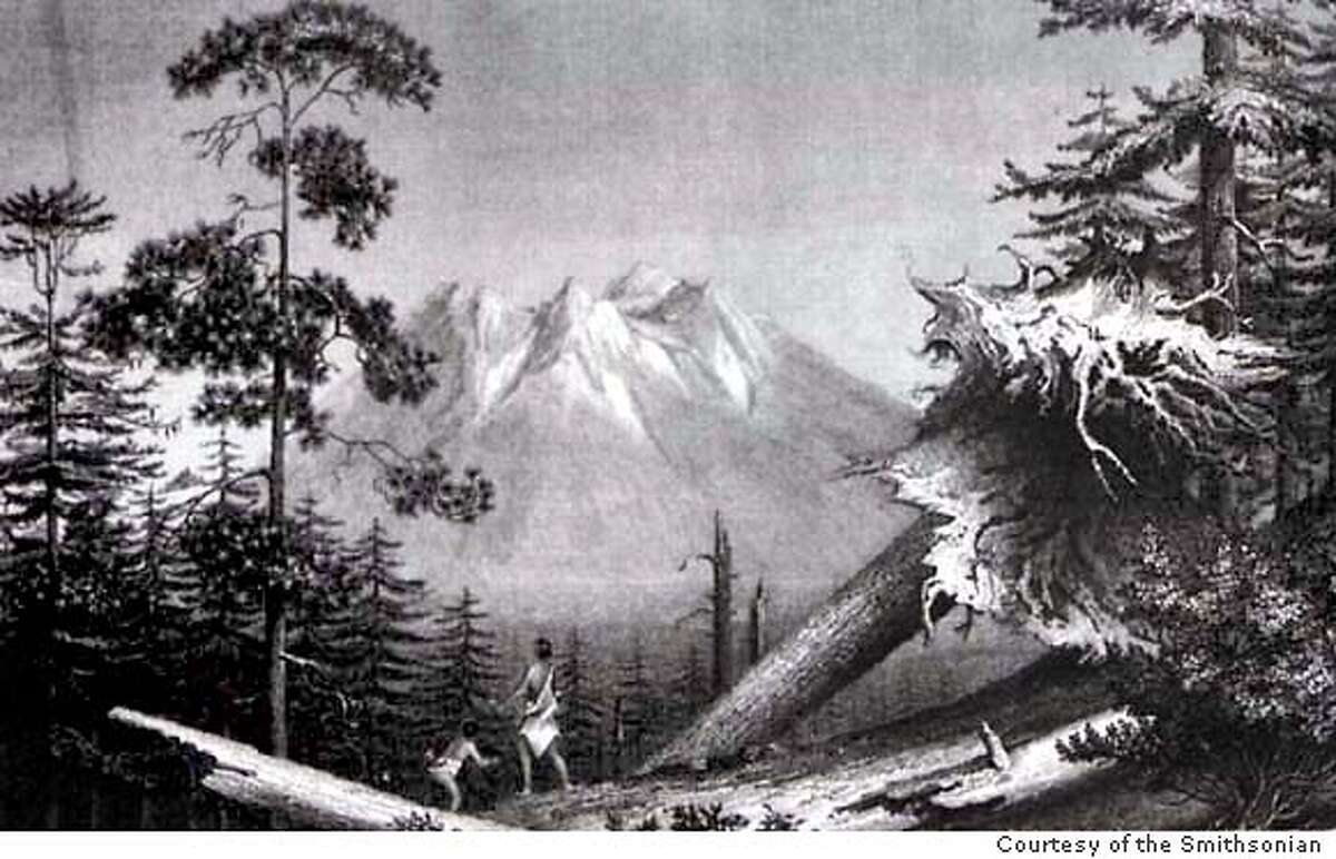 MOUNT SHASTA AS SEEN BY THE OVERLAND EXPEDITION LED BY LIEUTENANT GEORGE EMMONS FROM THE COLOMBIA RIVER TO SAN FRANCISCO BAY. FROM THE NARRATIVE, COURTESY SMITHSONIAN INSTITUTION LIBRARIES
