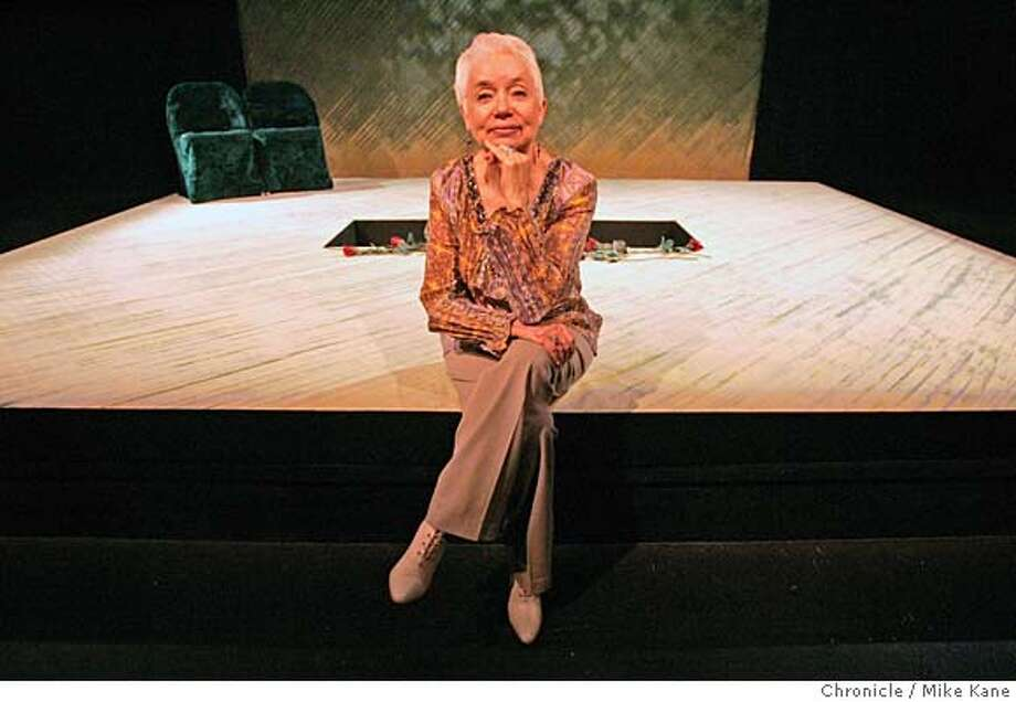 """MORMON_007_MBK.JPG  Author and playwright Carol Lynn Pearson sits onstage before the start of her play """"Facing East"""" at Theatre Rhinoceros in San Francisco, CA, on Saturday, August, 11, 2007. photo taken: 8/11/07  Mike Kane / The Chronicle **Carol Lynn Pearson  Ran on: 08-18-2007  Author and playwright Carol Lynn Pearson says she has &quo;a unique opportunity to build bridges&quo; between the gay community and the Mormon population. Photo: MIKE KANE"""