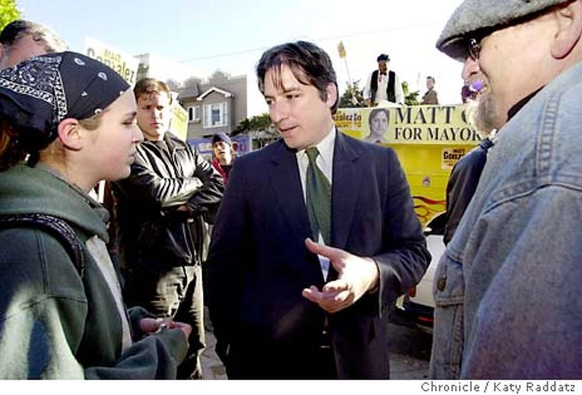 Matt Gonzalez is out campaigning at 9th Ave. and Irving St. in San Francisco. He's shown talking with Clara Dudley, 15, from San Francisco about diversity at the School of the Arts. KATY RADDATZ / The Chronicle