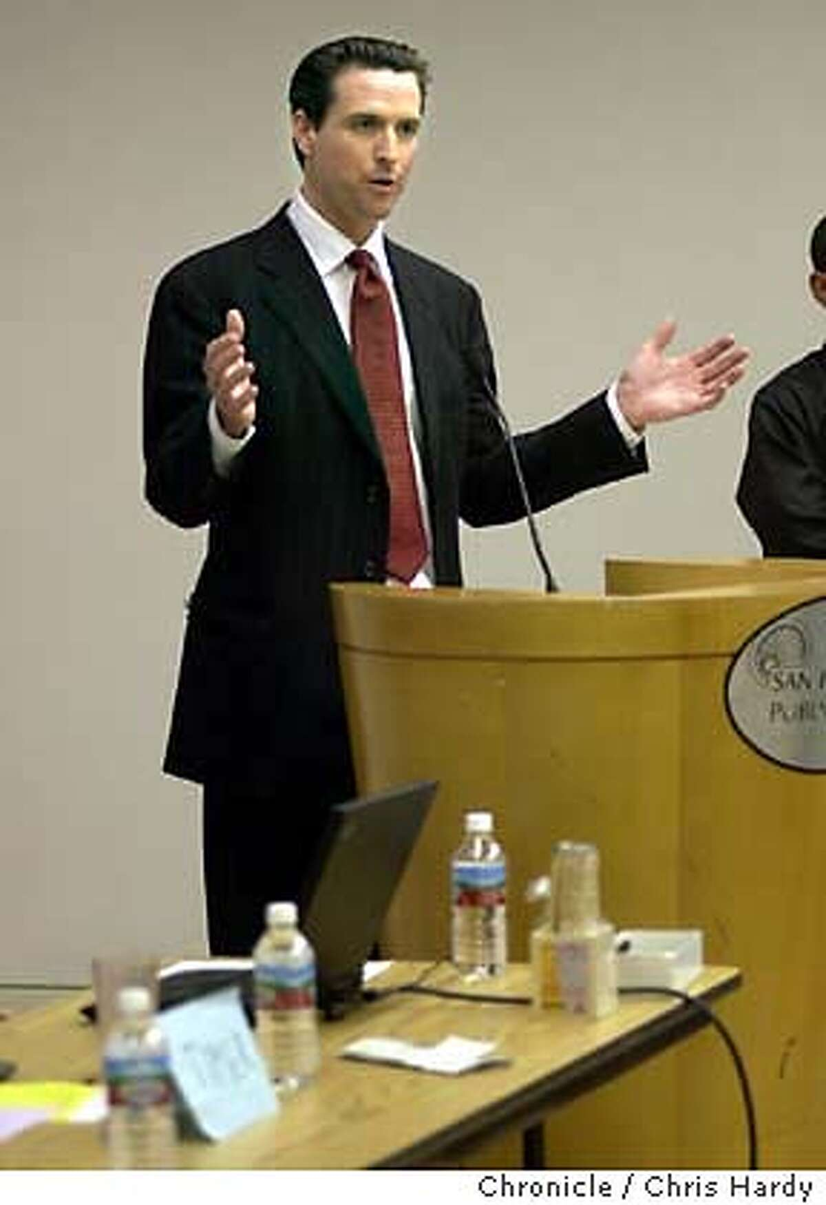 imigrant31010_ch.JPG Gavin Newsom speaking. The newly-formed San Francisco Immigrant Voters Coalition, which seeks to support the city's 37 percent immigrant population, is hosting a public forum for mayoral candidates. Gavin Newsom, Susan Leal, Matt Gonzalez, Tom Ammiano, and Angela Alioto will attend. Event on 10/30/03 in San Francisco. CHRIS HARDY / The Chronicle MANDATORY CREDIT FOR PHOTOG AND SF CHRONICLE/ -MAGS OUT