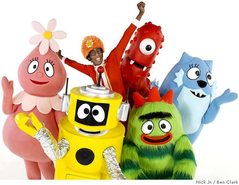 Muno the Red Cyclops, Foofa the Pink Flower Bubble, Plex the yellow robot, Toodee Blue Cat Dragon, Brobee the Hairy Green monster and DJ Lance Rock in the orange hat. Please credit: Ben Clark / Nick Jr. / TM & � 2007 GabbaCadabra LLC Photo: Ben Clark / Nick Jr.