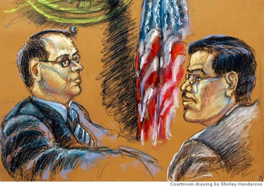 This courtroom drawing shows Jose Padilla, right, and Assistant U.S. Attorney Brian Frazier, left, as the verdict is read in Padilla's terrorism trial in Miami, Thursday, Aug. 16, 2007. Padilla, a U.S. citizen held for 3 1/2 years as an enemy combatant, was convicted Thursday of helping Islamic extremists and plotting overseas attacks in a case that came to symbolize the Bush administration's zeal to clamp down on terrorism. (AP Photo/Shirley Henderson) Photo: Shirley Henderson