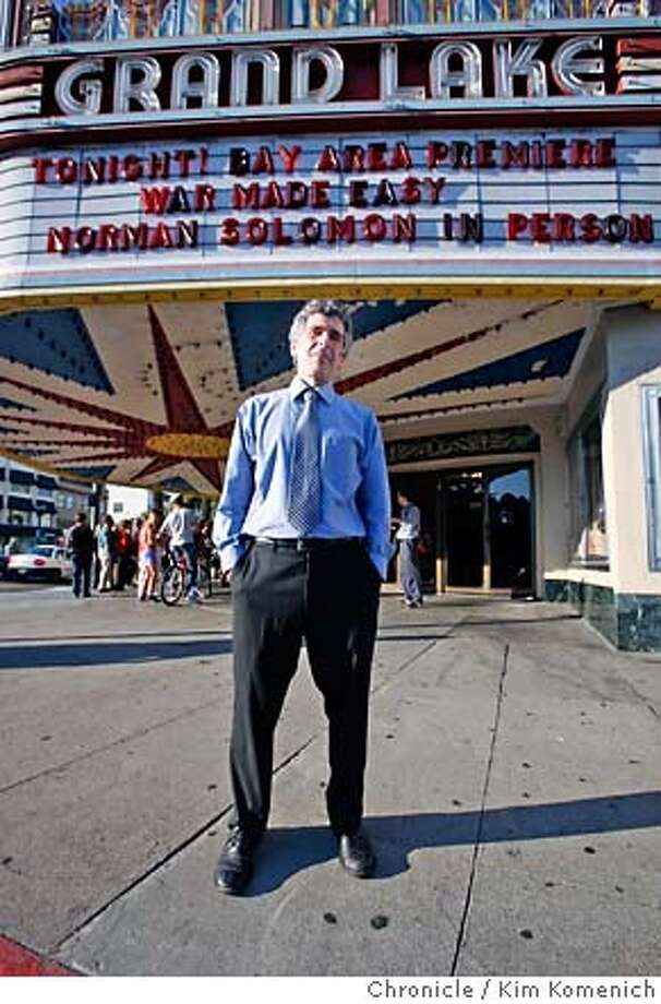 "WAR19_075_KK.JPG  Activist Norman Solomon greets moviegoers at the screening of his new film ""War Made Easy"" at the Grand Lake Theater in Oakland Thursday  Photo by Kim Komenich/The Chronicle  **Norman Solomon MANDATORY CREDIT FOR PHOTOG AND SAN FRANCISCO CHRONICLE. NO SALES- MAGS OUT. Photo: Kim Komenich"