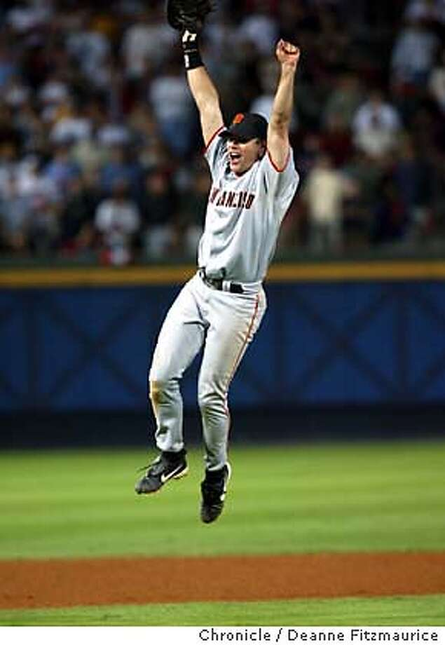 GIANTS08A-C-07OCT02-SP-DF --- J.T. Snow after the last out of the game to beat the Atlanta Braves in Atlanta, Ga., on Monday, October 7, 2002.  (DEANNE FITZMAURICE/SAN FRANCISCO CHRONICLE) NORTHERN CALIFORNIA MANDATORY CREDIT PHOTOG AND SF CHRONICLE/MAGS OUT- Photo: DEANNE FITZMAURICE