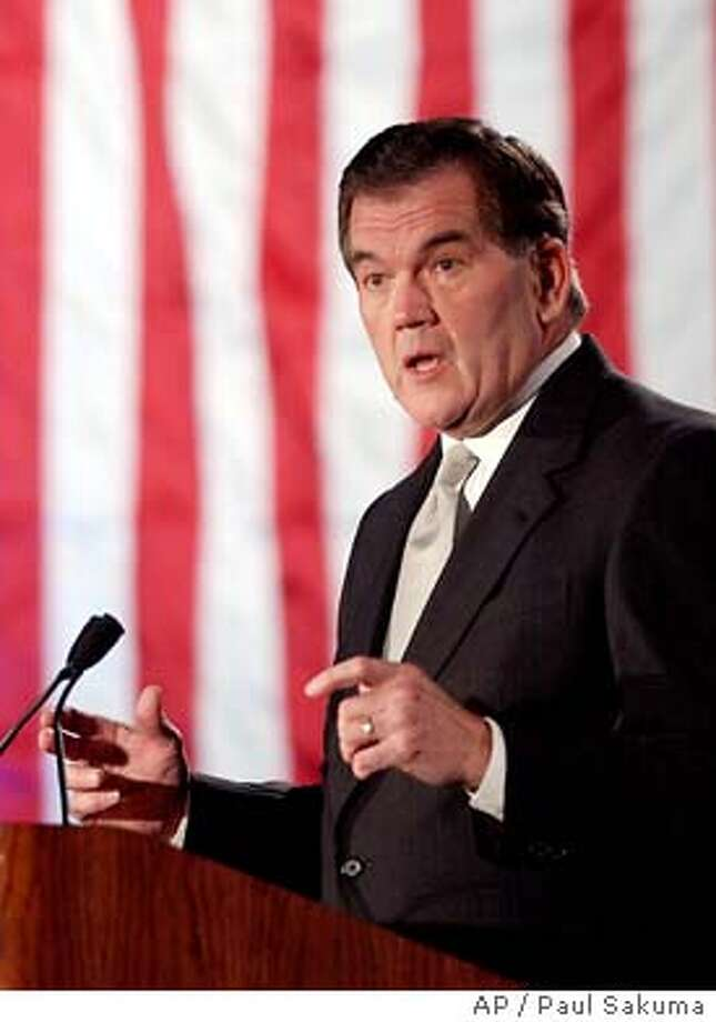 U.S. Department of Homeland Security Secretary Tom Ridge gestures as he makes remarks at the 2003 Department of Homeland Security National Summit in Santa Clara, Calif., Wednesday, Dec. 3, 2003. Ridge spoke on energizing national though partnerships. (AP Photo/Paul Sakuma) Photo: PAUL SAKUMA