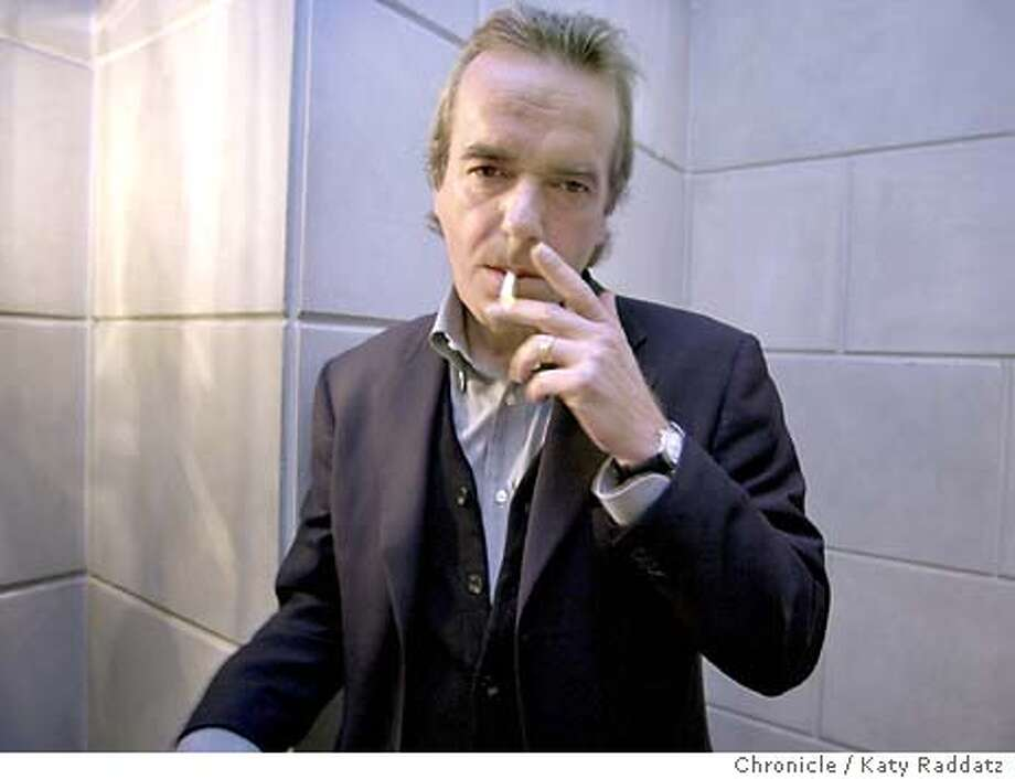 "Martin Amis is England's most controversial novelist. His newest, ""Yellow Dog"" is about pornography, tabloid journalism, and sexual politics. He's photographed outside the front door of the Ritz Carlton in San Francisco, enjoying a smoke. KATY RADDATZ / The Chronicle Photo: KATY RADDATZ"