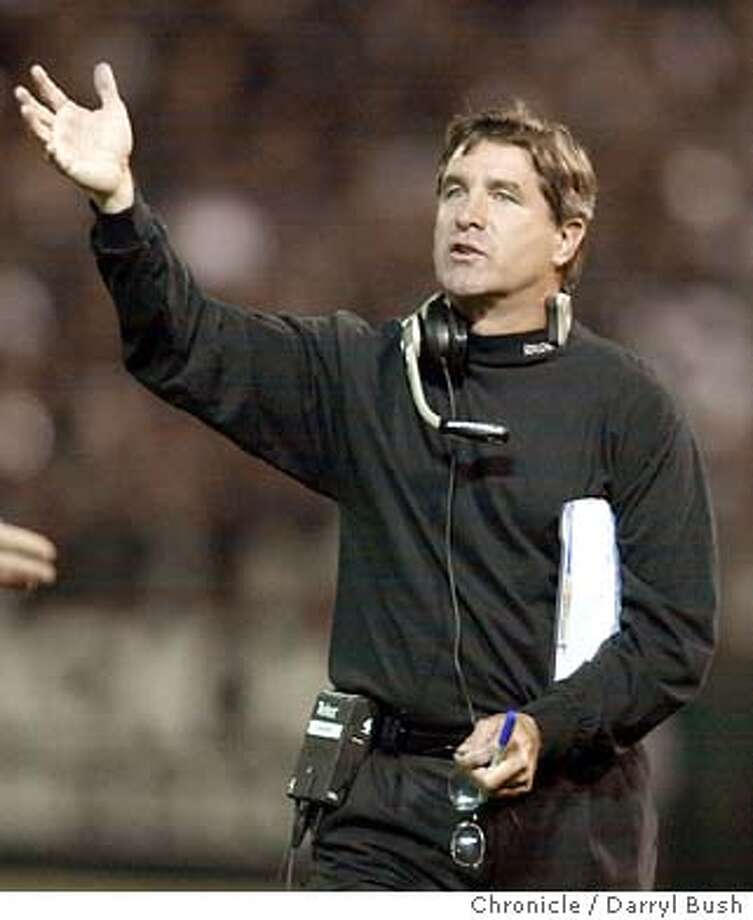 Oakland Raiders coach Bill Callahan argues with officials vs. Kansas City Chiefs at Network Associates Coliseum. 10/20/03 in Oakland. DARRYL BUSH / The Chronicle Photo: DARRYL BUSH