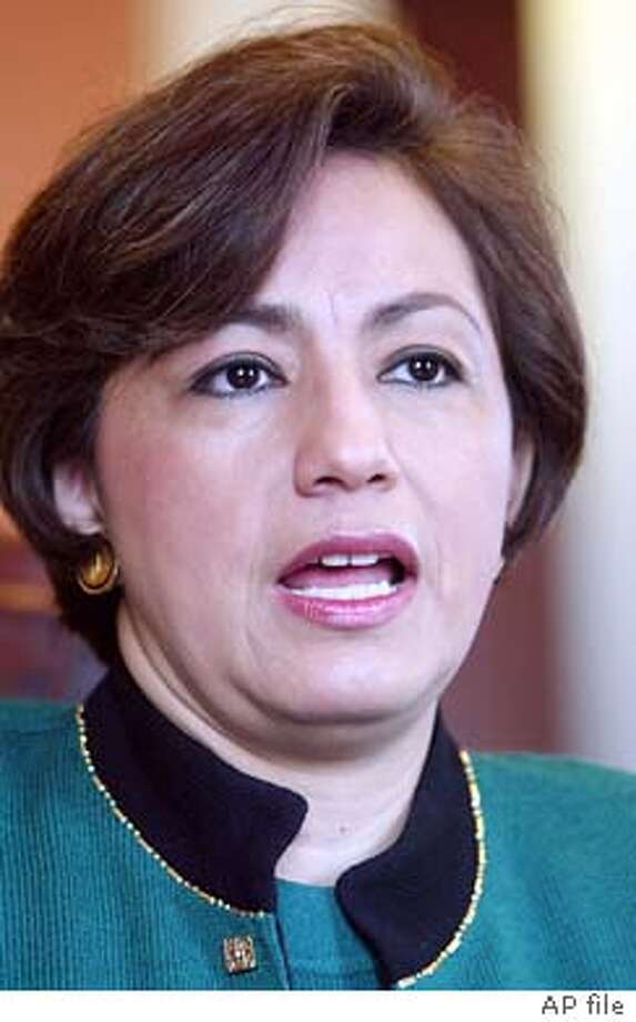 ** FILE ** U.S. Treasurer Rosario Marin talks with reporters during an interview with the Associated Press, Wednesday, March 5, 2003 in her office at the Treasury Department in Washington. Marin, the highest-ranking Latin American woman in the Bush administration, plans to leave her post at the end of June, the Treasury Department announced Thursday, May 22, 2003. (AP Photo/Ron Edmonds) Photo: RON EDMONDS