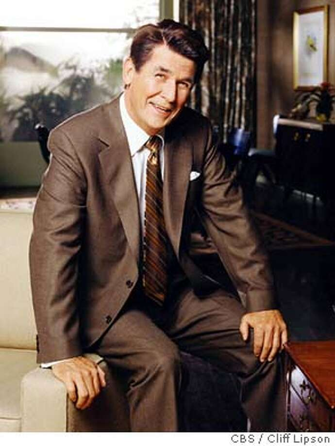 """** FILE ** James Brolin, as President Ronald Reagan, poses on the set of """"The Reagans"""" in this undated publicity photo. (AP Photo/CBS / Cliff Lipson) James Brolin plays President Ronald Reagan in &quo;The Reagans,&quo; which was banished to the land of cable by controversy. Photo: CLIFF LIPSON"""
