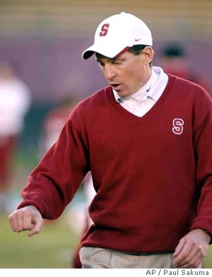 Stanford head coach Buddy Teevens gestures on the sidelines against Notre Dame in the first quarter, Saturday, Nov. 29, 2003 in Stanford, Calif. (AP Photo/Paul Sakuma) Photo: PAUL SAKUMA