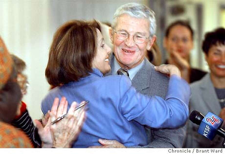 sfda002_bw.jpg Terence Hallinan received the endorsement of Congresswoman Nancy Pelosi Monday at a rally at the Women's building in the Mission district of San Francisco. BRANT WARD / The Chronicle Photo: BRANT WARD