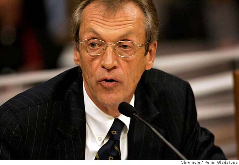 UCPAY_SENATE09 UC President Robert Dynes on the hotseat Wednesday when he testifies before a state Senate Education Committee hearing on UC's pay practices. State Capitol Photo by Penni Gladstone/The San Francisco Chronicle  Photo taken on 2/8/06, in Sacramento, CA. Photo: Penni Gladstone