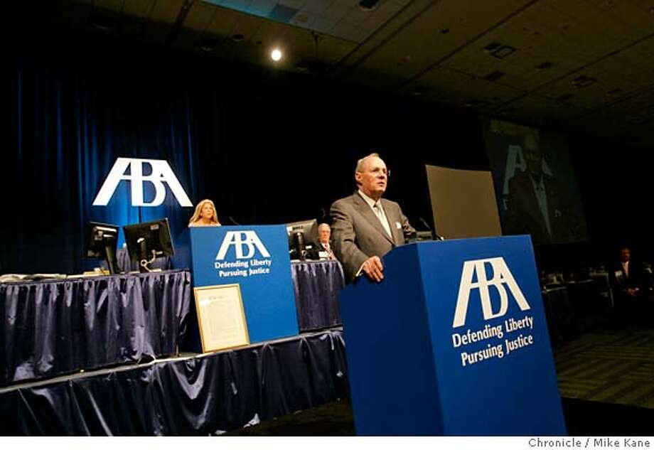 KENNEDY_001_MBK.JPG  Supreme Court Justice Anthony Kennedy speaks to the American Bar Association at Moscone West in San Francisco, CA, on Monday, August, 13, 2007. photo taken: 8/13/07  Mike Kane / The Chronicle * MANDATORY CREDIT FOR PHOTOG AND SF CHRONICLE/NO SALES-MAGS OUT Photo: MIKE KANE