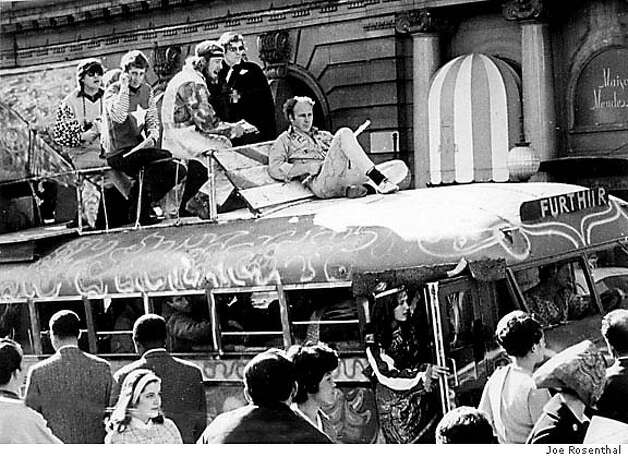 KESEY/26APR67/MN/JR - Ken Kesey, on top of the Furthur Bus, holding a flute in San Francisco. Photo by Joe Rosenthal. Photo: JOE ROSENTHAL