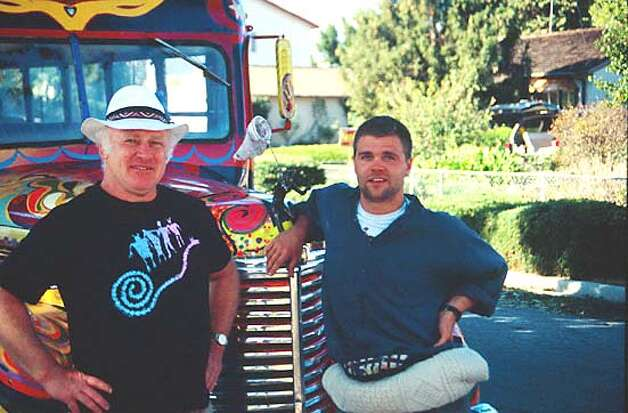 Kesey and his protege Jeff Forester pose with the second incarnation of Further in the 1990s. Photo courtesy of Jeff Forester