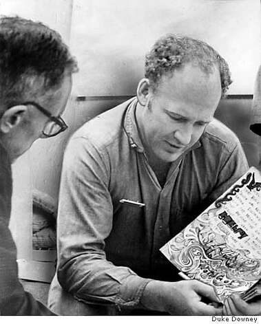 KESEY-B-16SEP67-DD-DOWNEY - (l to r) Bess, Ken Kesey, John Page Browning. Kesey showing his diary. Photo by Duke Downey. Photo: Duke Downey