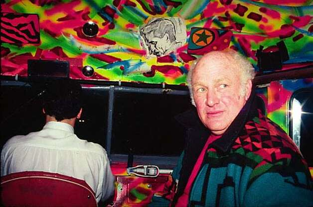 Forester and Kesey show off the colorful interior of the second Further bus, which traveled the country during George Bush Sr.'s era. Photo courtesy of Jeff Forester