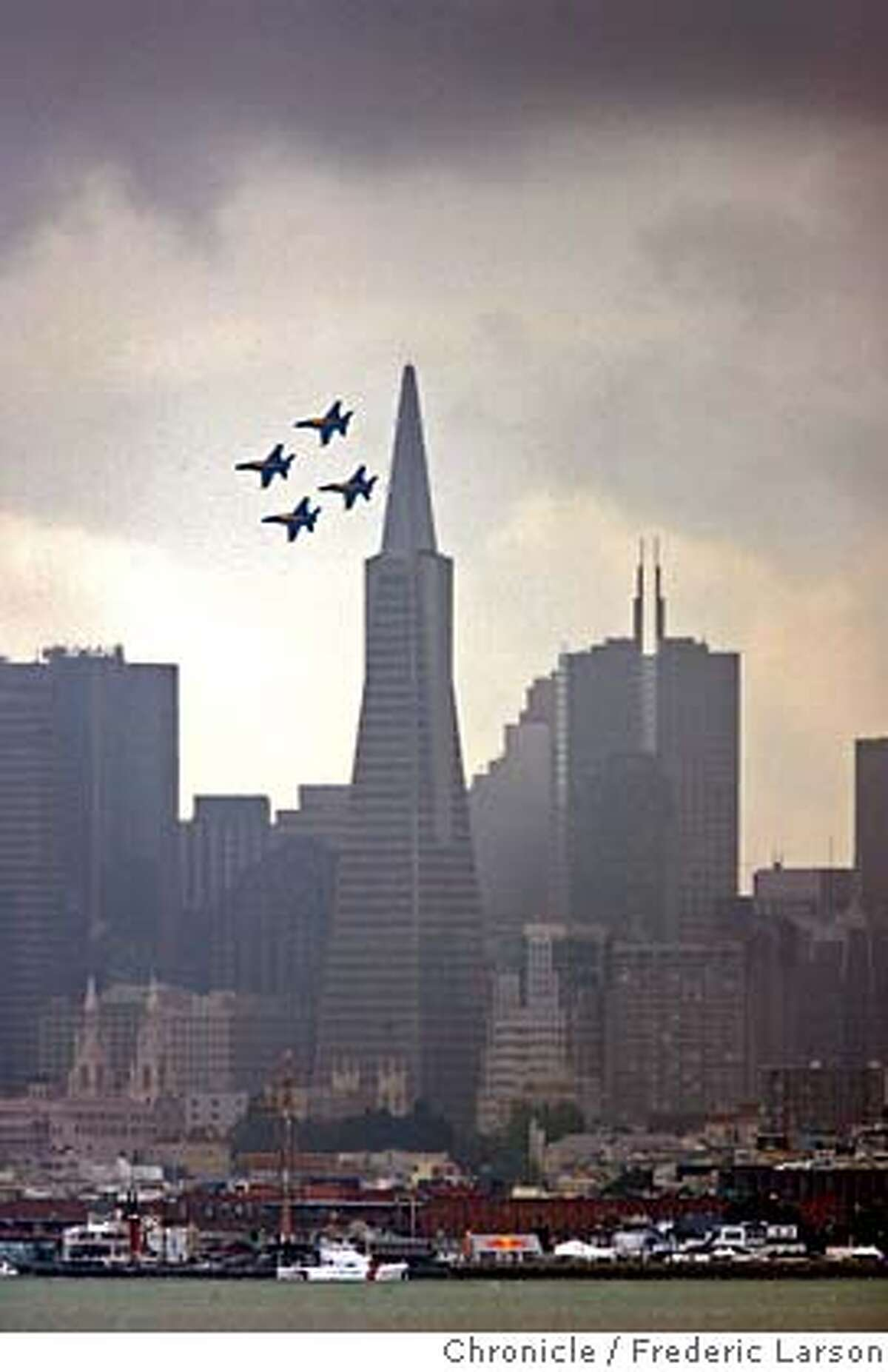 The Blue Angels fly over San Francisco, Thursday, Oct. 5, 2006, in preparation for fleet week and the 60th Anniversary of the US Navy Blue Angels. (AP Photo/San Francisco Chronicle, Fred Larson) ** NO SALES MAGS OUT MANDATORY CREDIT ** Ran on: 10-06-2006 The Blue Angels fly over San Francisco in preparation for Fleet Week and for the 60th anniversary of the U.S. Navys flight team. Ran on: 10-06-2006 The Blue Angels fly over San Francisco in preparation for Fleet Week and for the 60th anniversary of the U.S. Navys flight team. Ran on: 10-06-2006 The Blue Angels fly over San Francisco in preparation for Fleet Week and for the 60th anniversary of the U.S. Navys flight team. Ran on: 10-06-2006 The Blue Angels fly over San Francisco in preparation for Fleet Week and for the 60th anniversary of the U.S. Navys flight team. NO SALES MAGS OUT MANDATORY CREDIT