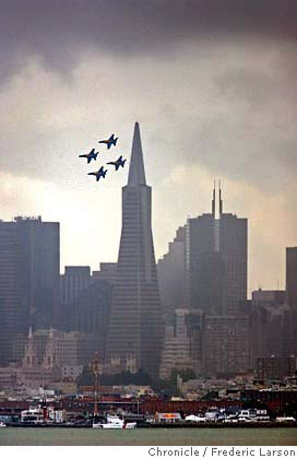 The Blue Angels fly over San Francisco, Thursday, Oct. 5, 2006, in preparation for fleet week and the 60th Anniversary of the US Navy Blue Angels. (AP Photo/San Francisco Chronicle, Fred Larson) ** NO SALES MAGS OUT MANDATORY CREDIT ** Ran on: 10-06-2006  The Blue Angels fly over San Francisco in preparation for Fleet Week and for the 60th anniversary of the U.S. Navy's flight team.  Ran on: 10-06-2006  The Blue Angels fly over San Francisco in preparation for Fleet Week and for the 60th anniversary of the U.S. Navy's flight team.  Ran on: 10-06-2006  The Blue Angels fly over San Francisco in preparation for Fleet Week and for the 60th anniversary of the U.S. Navy's flight team.  Ran on: 10-06-2006  The Blue Angels fly over San Francisco in preparation for Fleet Week and for the 60th anniversary of the U.S. Navy's flight team. NO SALES MAGS OUT MANDATORY CREDIT Photo: FREDERIC LARSON