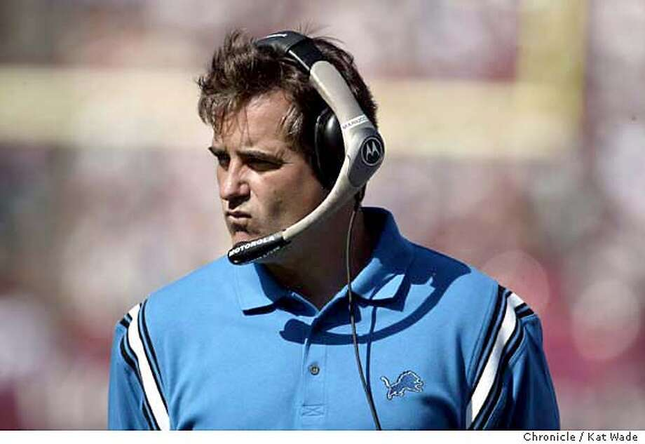 Steve Mariucci is not looking too happy in the second quarter of play as his team trailed 17-3. The San Francisco 49ers played the Detroit Lions at Candlestick Park on Sunday, October 5, 2003, in San Francisco, Ca., on Steve Mariucci's first return to San Francisco since being named coach of the Lions.  Photo taken on 10/5/03, in San Francisco, CA. Photo By Kat Wade / The San Francisco Chronicle Photo: Kat Wade